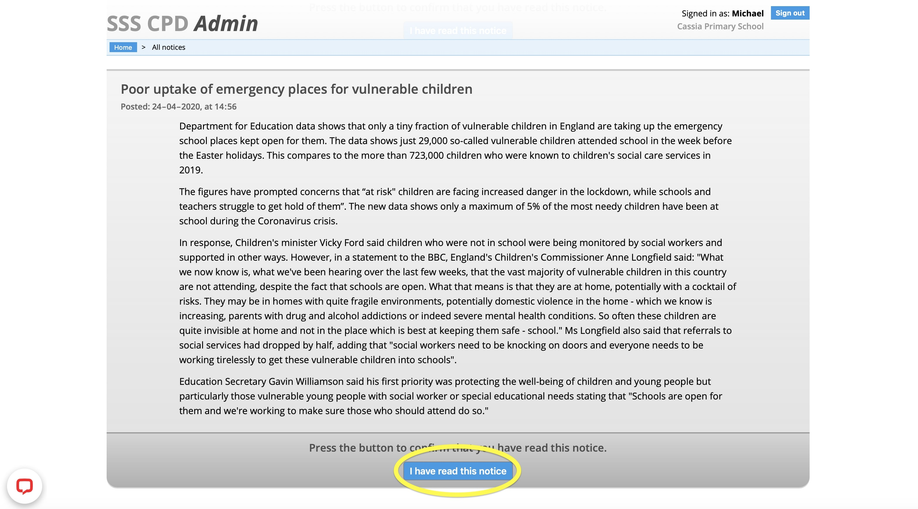 Admin Dashboard - I have read this safeguarding notice