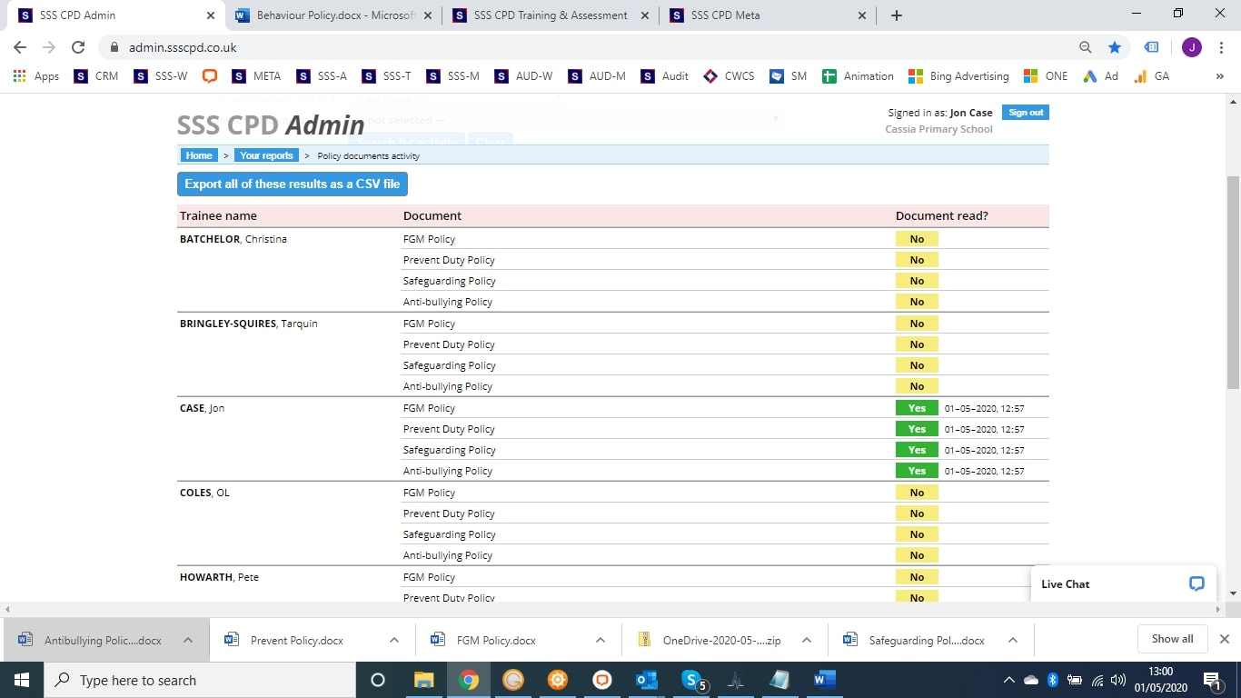 Admin Dashboard - access the document tracker