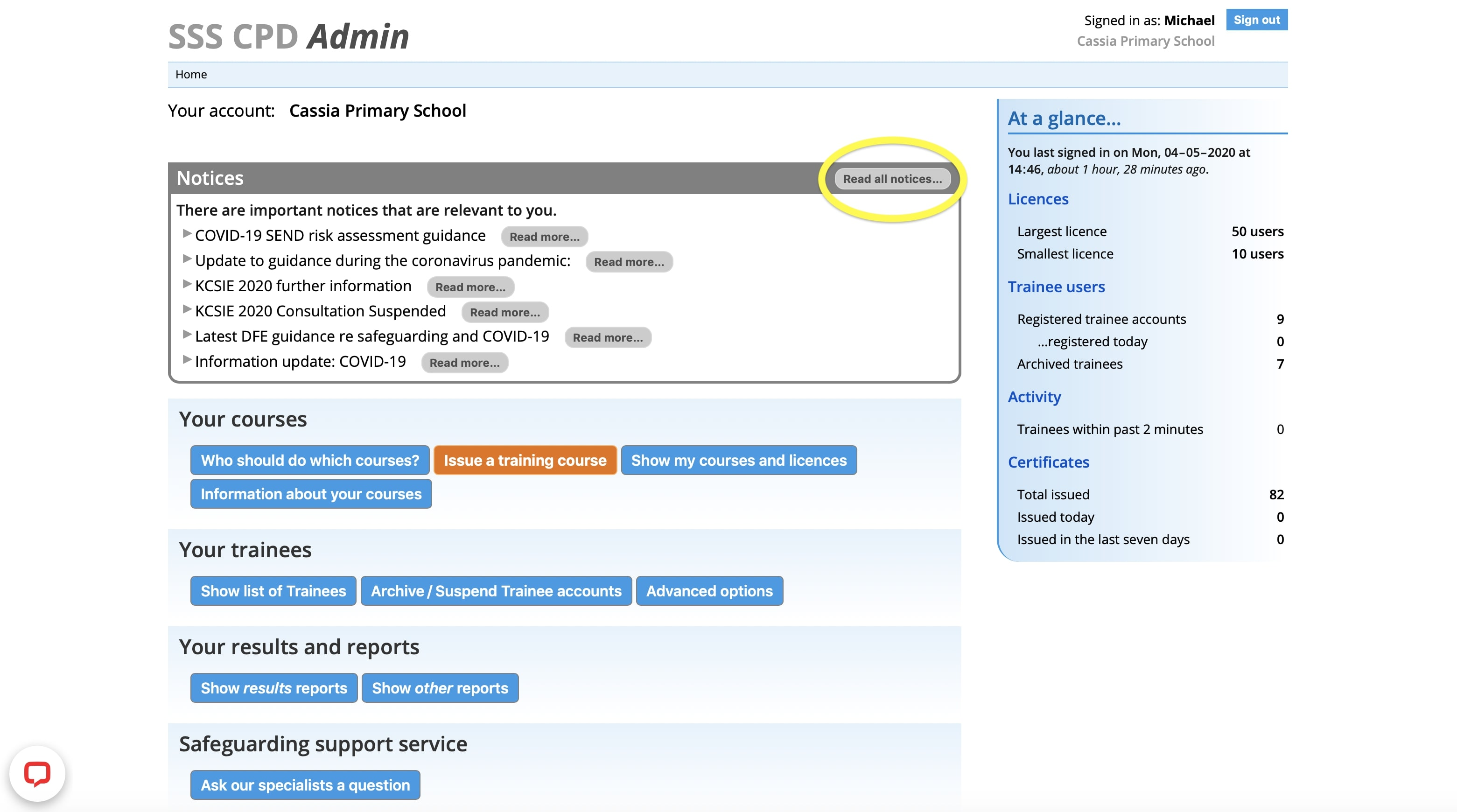 Admin Dashboard - read all safeguarding notices