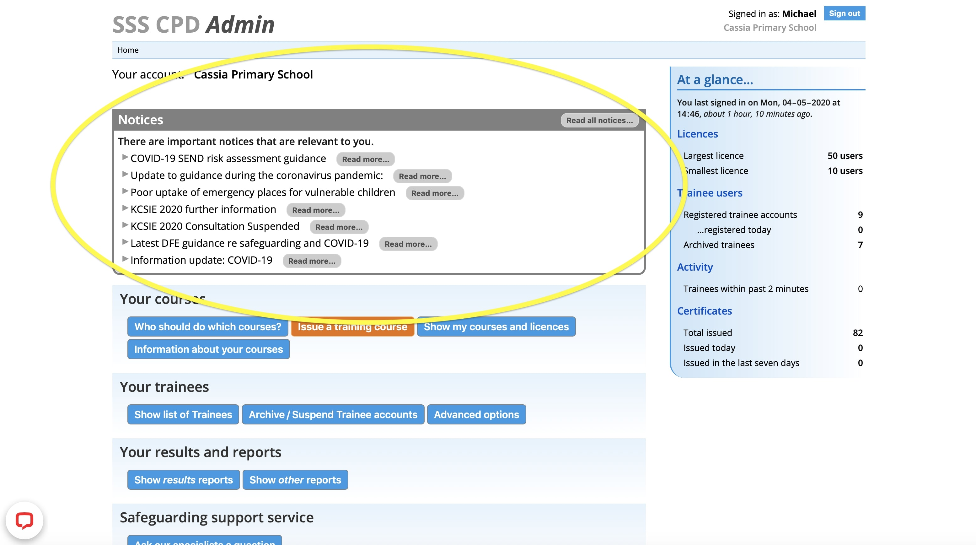Admin Dashboard - the safeguarding notices