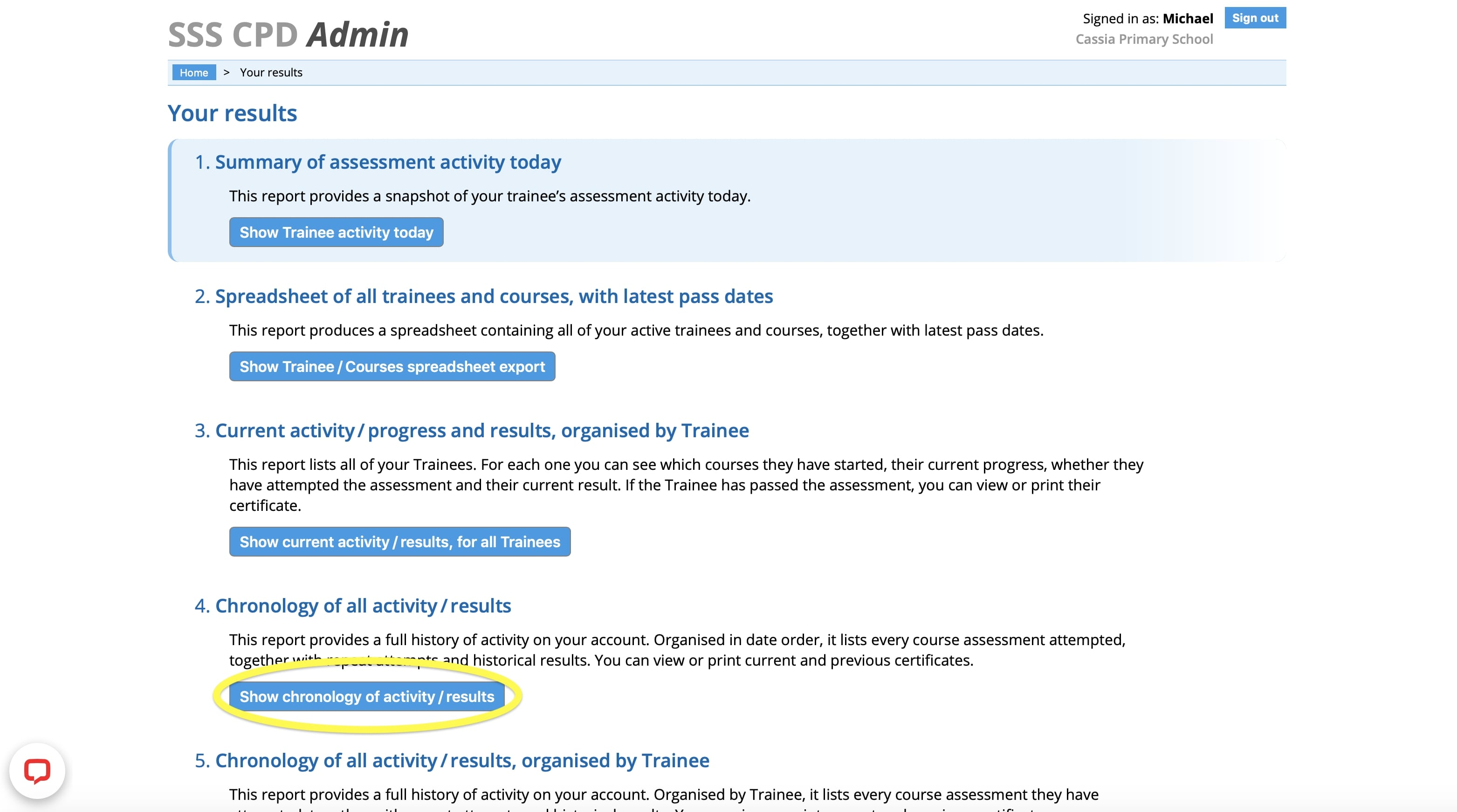 Admin Dashboard - safeguarding training show chronological results